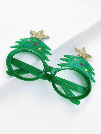 Montura de gafas navideña con árbol de navidad