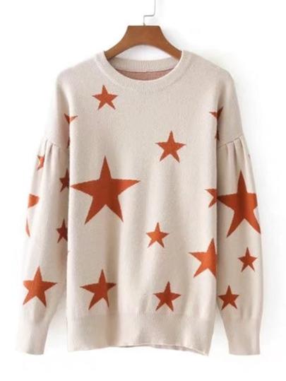Star Pattern Drop Shoulder Knitwear