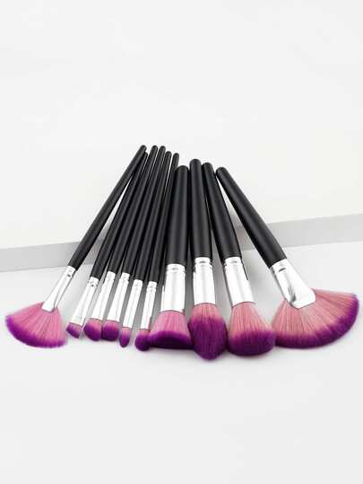 Fan Shaped Makeup Brush Set 10pcs