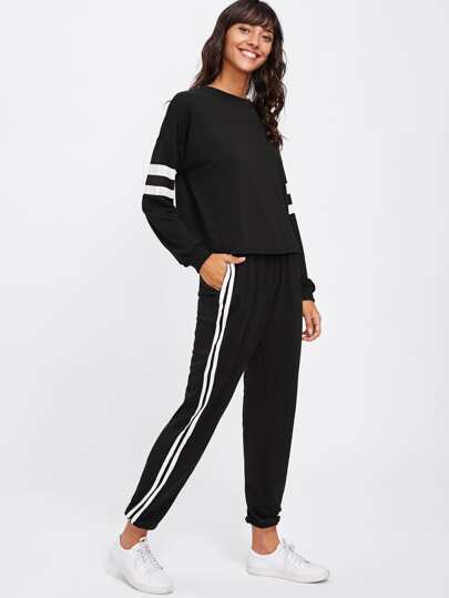 Ensemble de Sweat-shirt rayure et Pantalons