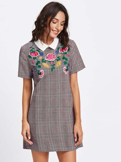 Botanical Embroidered Plaid Dress
