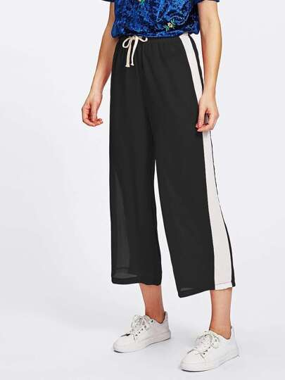 Side Striped Panel Drawstring Waist Crop Pants