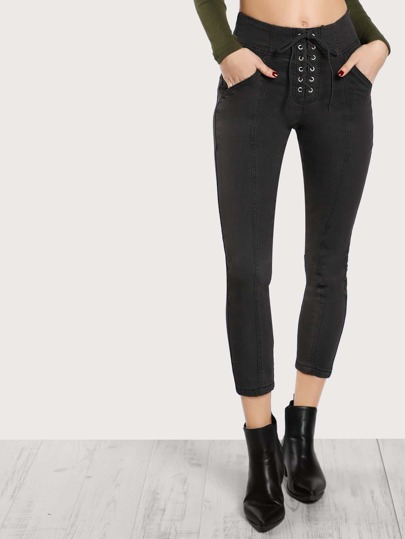 Lace Up Ankle Pants CHARCOAL