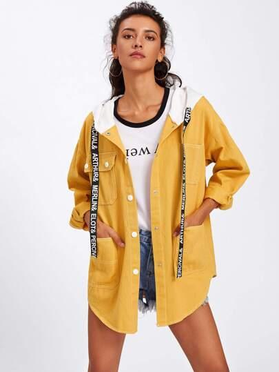 Drop Shoulder Drawstring Hooded Denim Jacket