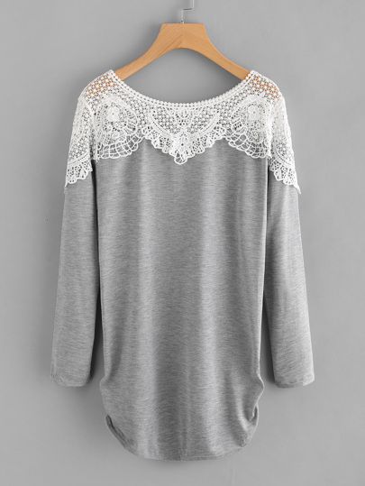 Contrast Hollow Out Crochet Marled Tee