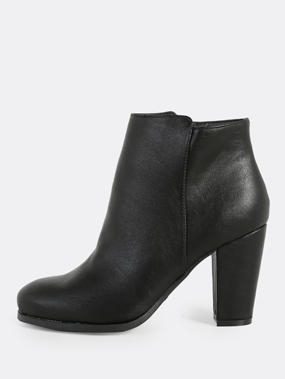Round Toe Patent Zipper Boots BLACK