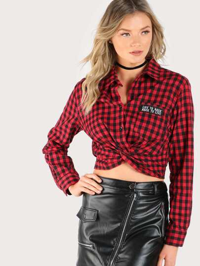 Live To Rock Gingham Top RED