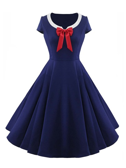 Contrast Collar Bow Tie Front Flare Dress
