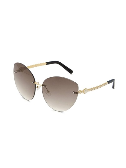 Faux Pearl Detail Rimless Sunglasses
