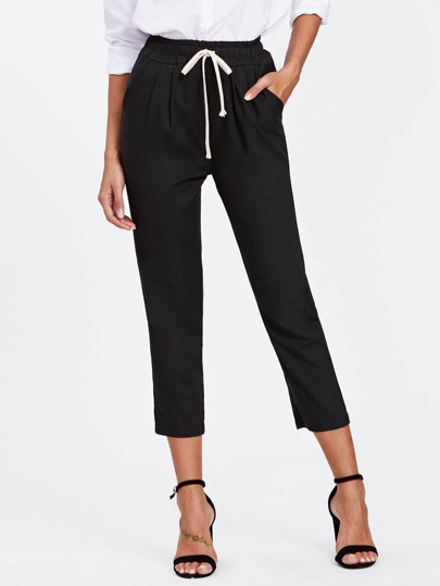 Drawstring Waist Crop Peg Pants