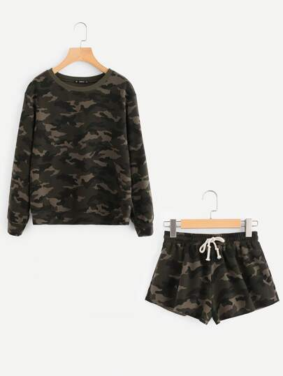 Camo Pullover And Raw Cut Sweatshorts Set