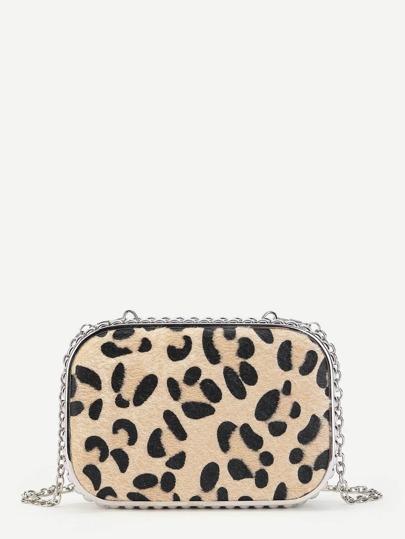 Leopard Print Chain Crossbody Bag