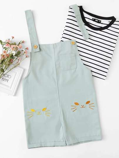 Cat Embroidered Pocket Pinafore Shorts