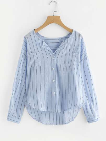 Pinstripe Dropped Shoulder Dip Hem Blouse