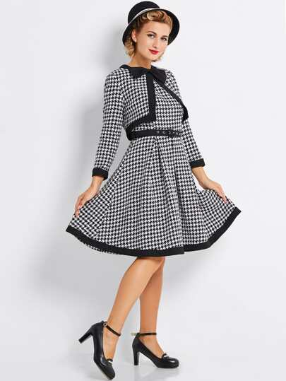 Bow Neck Waist Tie Houndstooth Two Piece Dress