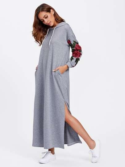 Vestido estilo sudadera con abertura lateral