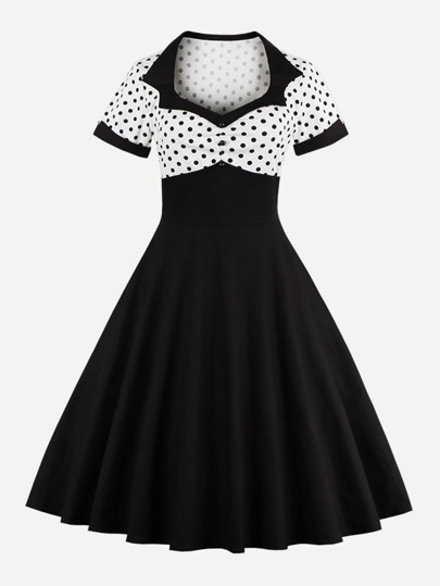 Contrast Polka Dot Print Flare Dress