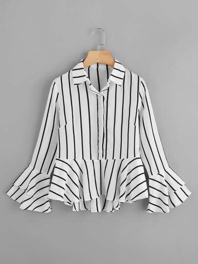 Tiered Fluted Sleeve Striped Dip Hem Frill Shirt