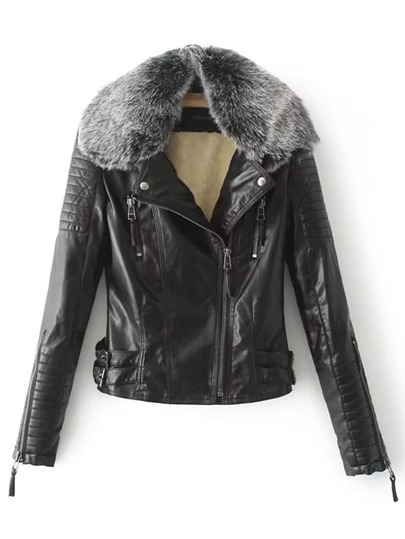 Quilted Sleeve PU Jacket With Faux Fur