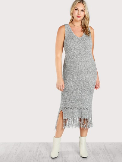Knitted Frayed Hem Sleeveless Dress GREY