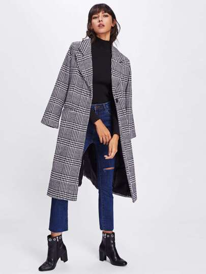 Revere Collar Houndstooth Long Coat