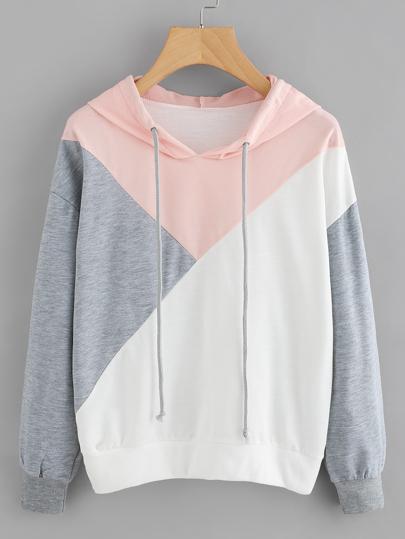 Camisa de capucha en color block