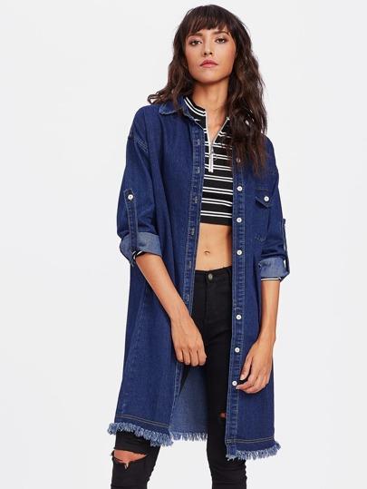 Manteau en jeans avec pan déchiré avec la chute de l\'épaul