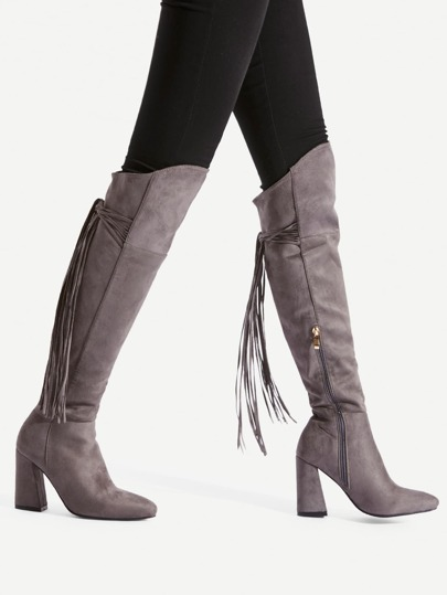 Tassel Tie Back Knee High Boots