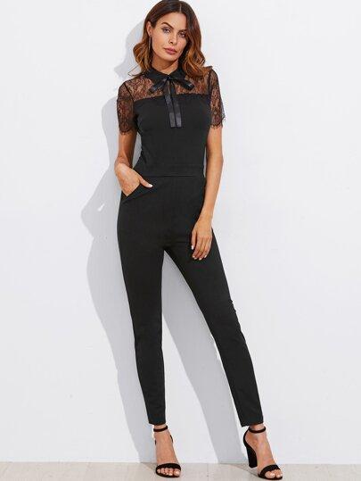 Lace Yoke Eyelash Trim Solid Jumpsuit