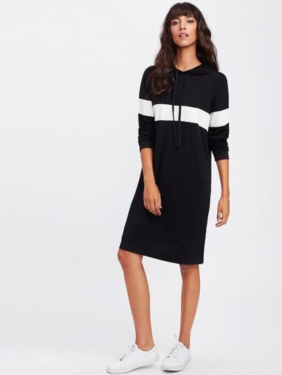 Side Split Color Block Panel Sweatshirt Dress