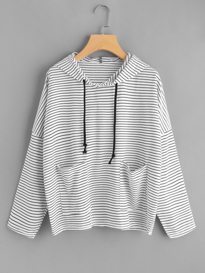 Drop Shoulder Dual Pocket Striped Hoodie
