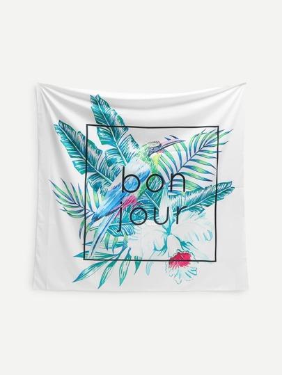 Bird & Flower Print Tapestry
