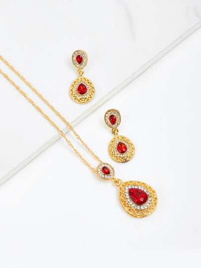 Water Drop Rhinestone Chain Necklace & Earrings