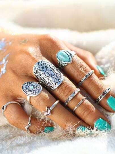 Retro Ring Set With Turquoise