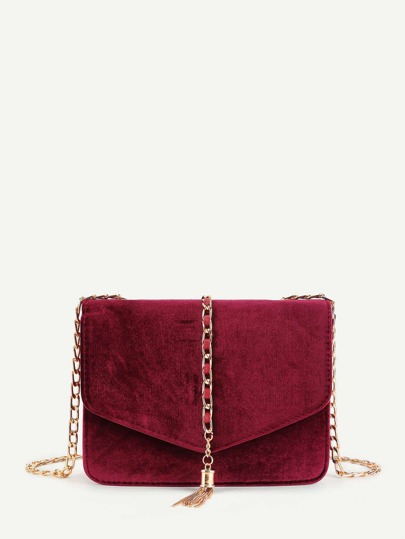 Chain Tassel Flap Velvet Crossbody Bag