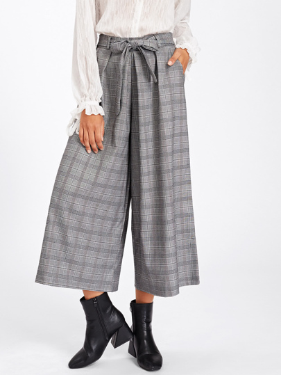 Tartan Plaid Tie Waist Wide Leg Pants