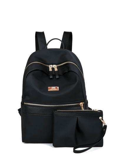حقيبة ظهر الاسود جلد فرو مع جنب حقيبة و سلسلتين