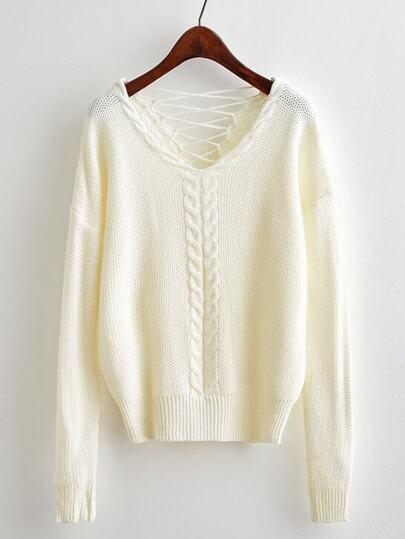 Pull tricoté avec dos ouvert avec lacet