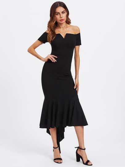 V Notch Off Shoulder High Low Fishtail Dress