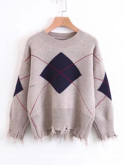 Drop Shoulder Distressed Argyle Sweater