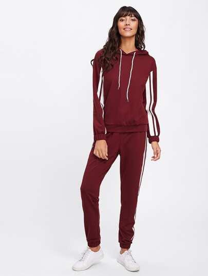 Striped Side Hoodie & Sweatpants Set