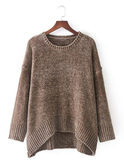 Dip Hem Drop Shoulder Sweater