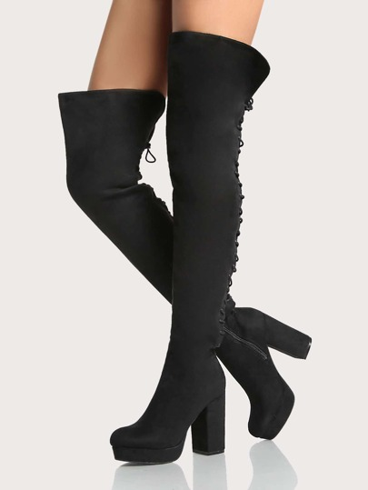Lace Up Platform Thigh High Boots BLACK