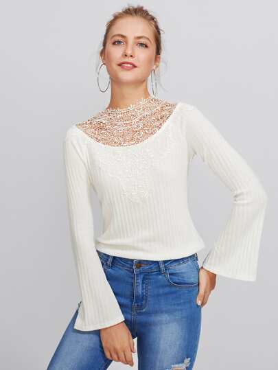 Lace Neck Cutout Bow Back Ribbed Top