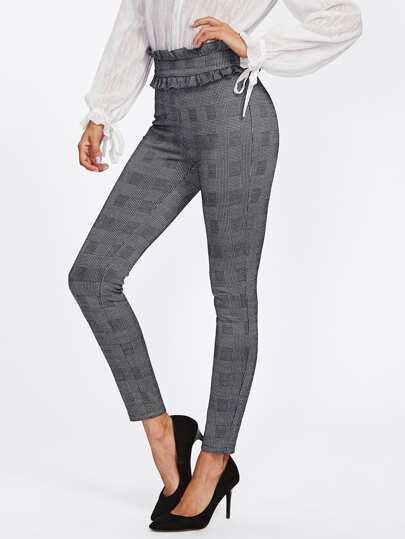 Модные клетчатые брюки с оборкой