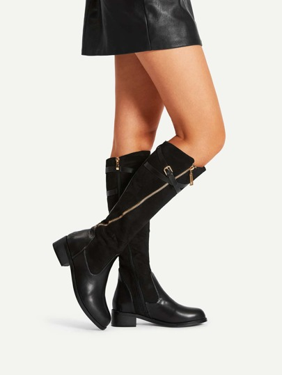 Side Zipper Buckle Strap Suede Boots