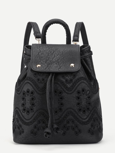 Cut Out Detail Drawstring PU Backpack