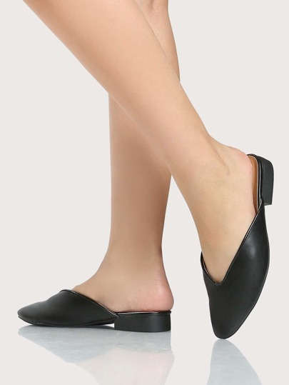 Point Toe Backless Loafers BLACK