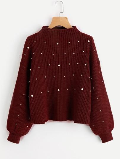 Pullover mit Perlen und übergroßen Ärmeln