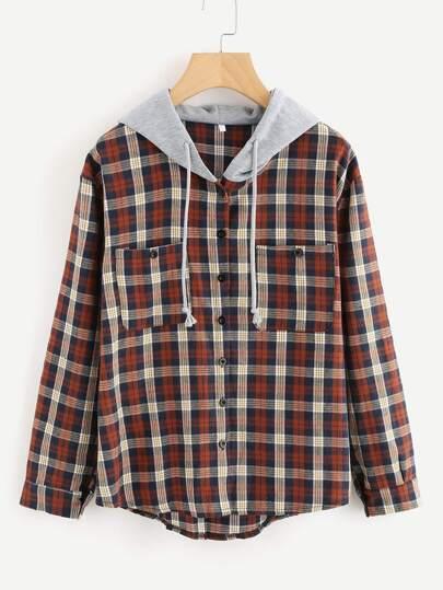 Sweat-shirt avec bouton avant encapuchonné avec poche